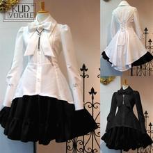 Vestido blanco Vintage de Lolita negro de talla grande para fiesta de Cosplay gótico victoriano para mujer