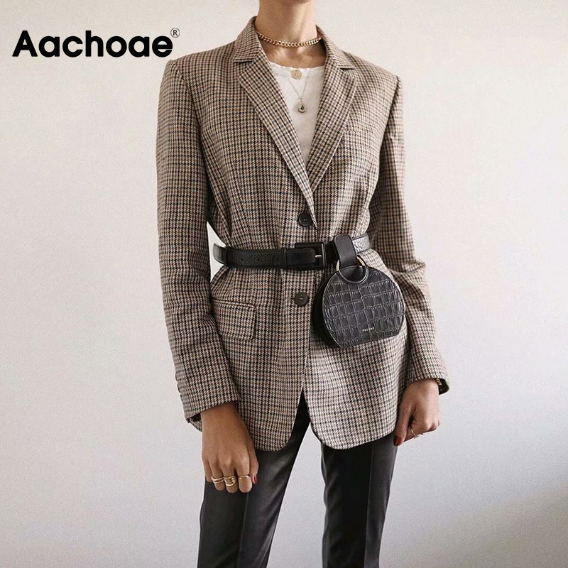 Vintage Office Ladies Plaid Blazer Long Sleeve Loose Houndstooth Suit Coat Jacket Women Single Breasted Blazers Female 2020