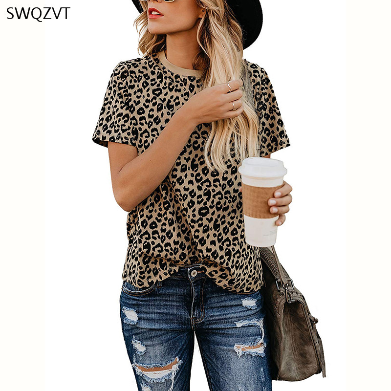 2020 Spring Summer New Women T-shirt Casual Leopard Print Round Neck Short Sleeve Shirt Ladies Tops Tees Womens Clothing