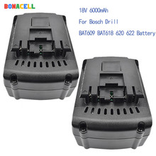 Bonacell 2PCs For Bosch 18V 6000mAh Power Tools Battery Rechargeable Batteries Cordless for Drill BAT609 BAT618 3601H61S10