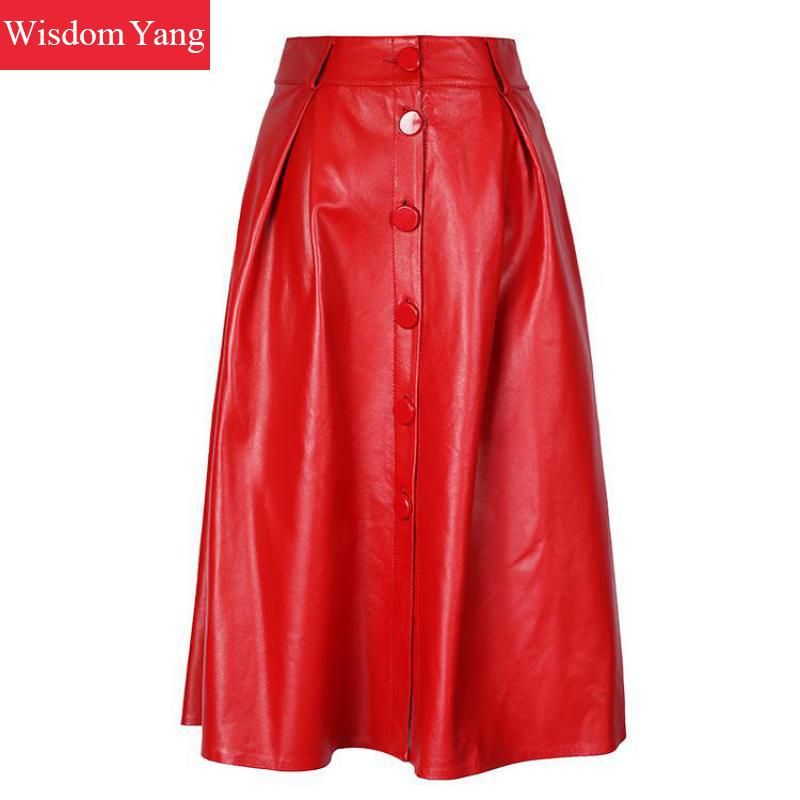 Autumn Genuine Leather Sheepskin Long Skirt High Waist Midi Skirts Womens Red Black Korean Party Sexy casual Ladies Aline Skirt