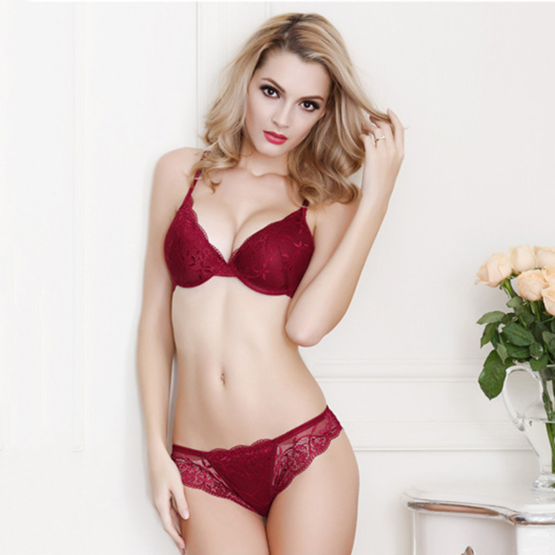 Fashion Sexy Lace Bra Set Push Up Lingerie Women Underwear Sets Intimates Embroidery Floral Mesh Patchwork Black Red Blue Beige