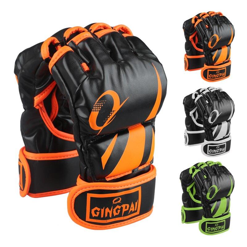 Перчатки для ММА в простом стиле, перчатки с полупальцевым покрытием, перчатки для борьбы с Sparring, тренировочные перчатки для кикбоксинга, пе...