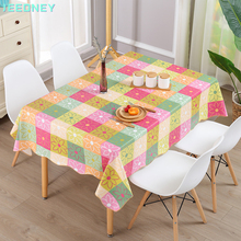 Desk-Cover Tablecloth Waterproof Rectangular Plaid Stain PVC Printing