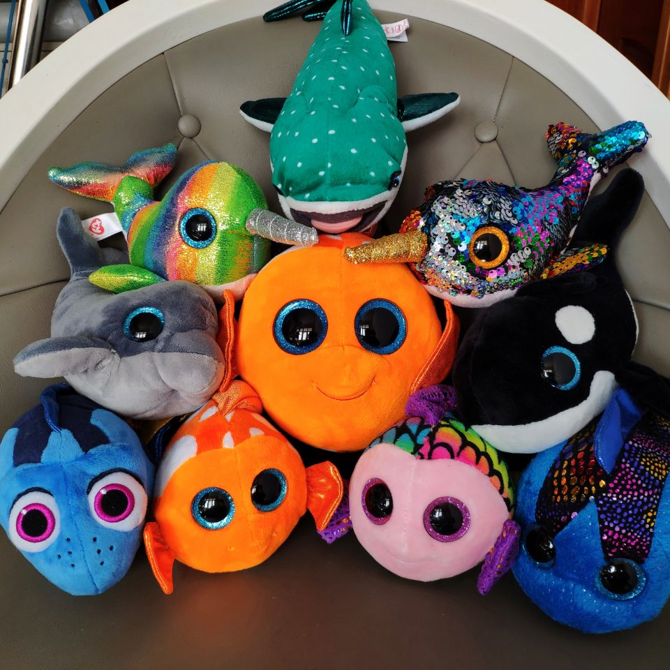 Plush Toys Fish Dory Sami Aqua Flippy Sequin Narwhale Nori Dory  Destiny Shark Nona Orcas Echo Dolphin Stuffed Animals Kids Toy