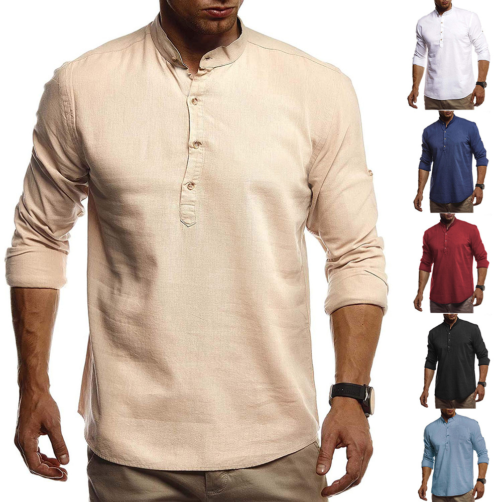 Stylish Linen Shirts Men/Boy 2017 Spring New Long Sleeve Mens Shirts Chemise Homme Stand Collar Slim Fit Social Camisa Masculina