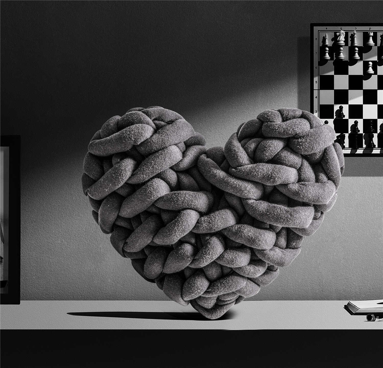 レジーナ手ノットハート形状スロー枕ニットソファ枕椅子ソファカメラアーティファクトクッションインターネット有名人枕