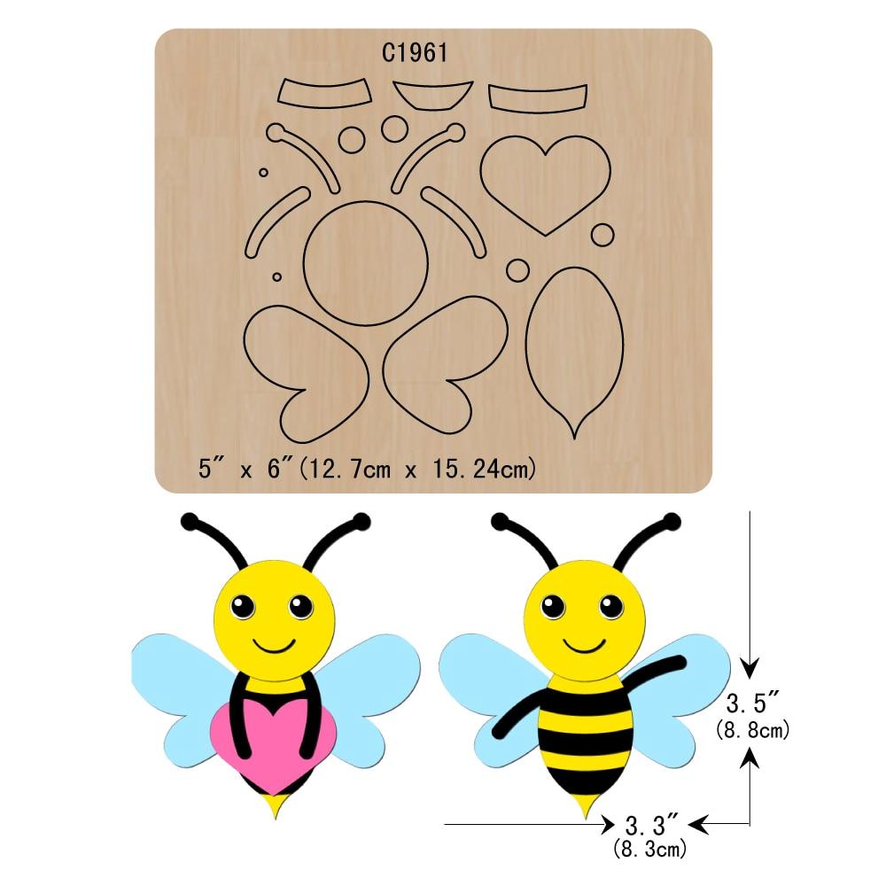 New Bees Wooden Die Scrapbooking C1961 Cutting Dies