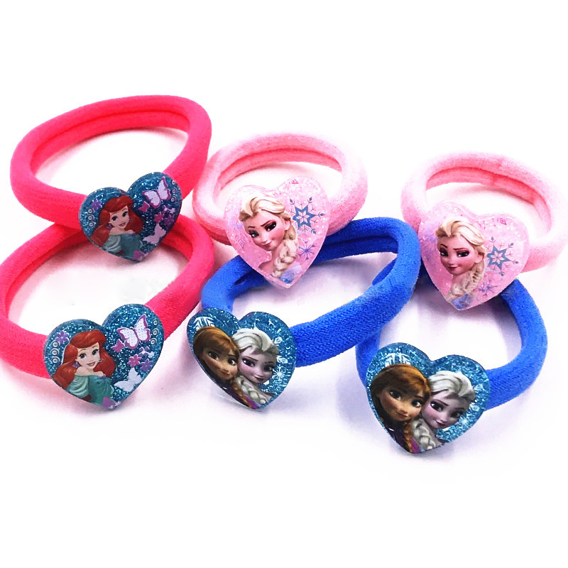 Elsa Anna Elastic Hair Bands Nylon Cartoon Princess Ponytail Holder Hair Rope Girls Little Pony Hair Ties Kids Hair Accessories