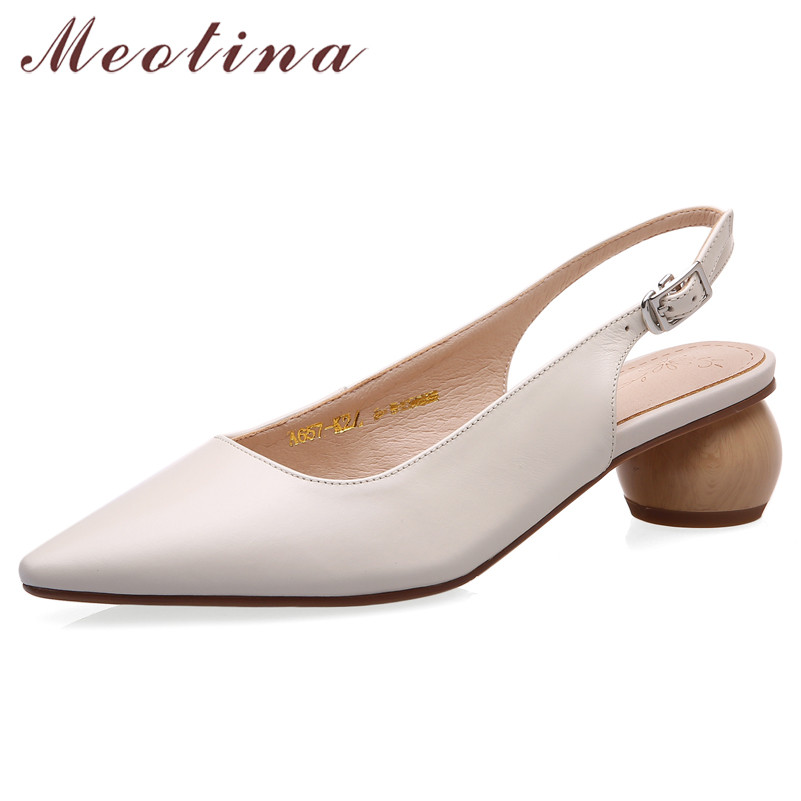 Meotina High Heels Women Pumps Natural Genuine Leather Strange Style Heel Slingbacks Shoes Cow Leather Buckle Shoes Lady Size 42