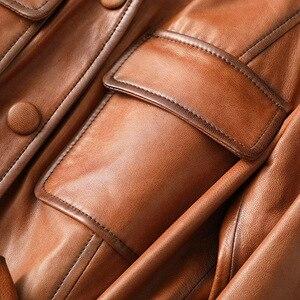 Image 4 - الشتاء الكلاسيكية ضئيلة طويلة جلد الغنم المرأة حقيقية سترات من الجلد جودة عالية كامل الأكمام معطف الزنانير جيوب الكرمل أبلى