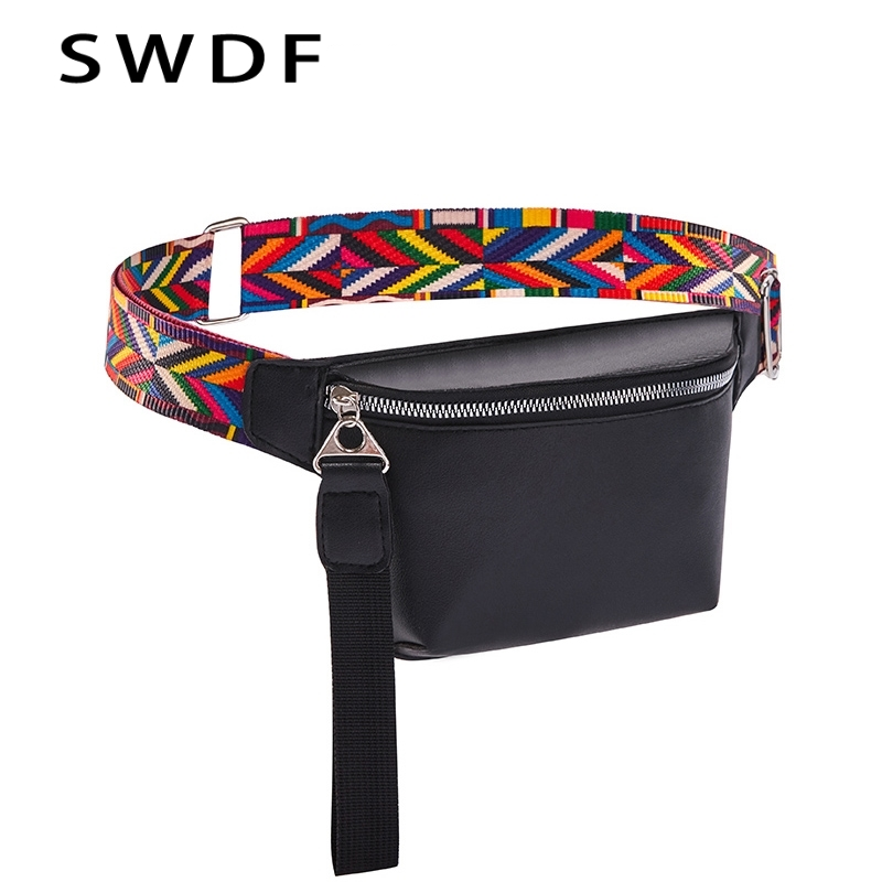 SWDF 2019 Waist Bags Lady Fanny Pack For Women's Banana Belt Bag PU Shoulder Chest Phone Pouch Kidney Female Purse Phone Pouch