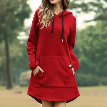 S-5XL Hoodie Dress Women Spring Casual Hooded Pocket Long Sleeve Pullover Sweatshirts New Autumn Lady Oversized Fashion Jacket