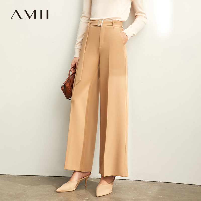Amii Minimalism Spring Casual Trousers Women High Waist Solid Loose Belt Wide Leg Pants 11930412