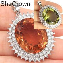 39x28mm Hot Sell Big Oval Gemstone 22x18mm Changing Color Spinel CZ Party Silver Pendant
