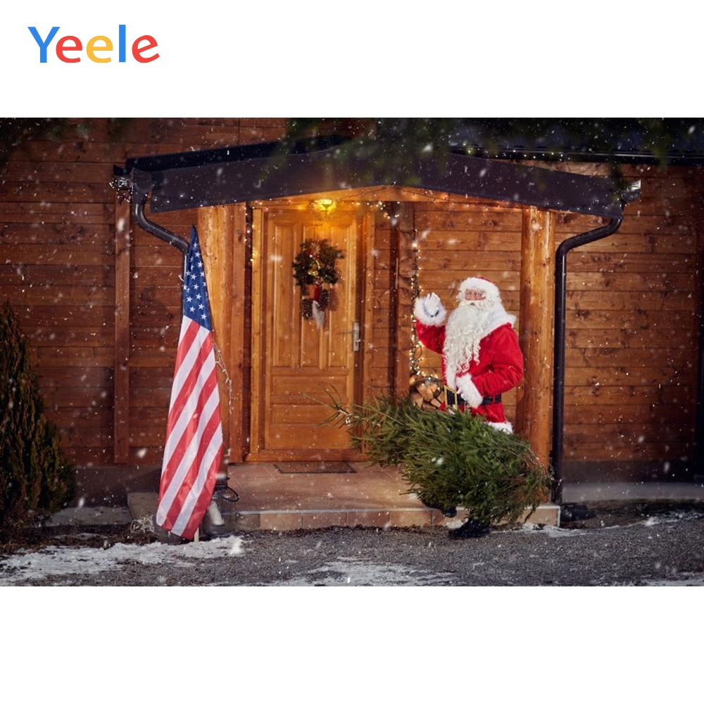 Yeele Merry Christmas Photography Backgrounds Santa Claus House National Flag Custom Vinyl Photographic Backdrop Photo Studio in Background from Consumer Electronics