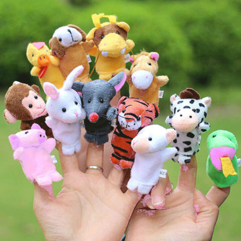 US Family Finger Puppets Cloth Doll Baby Educational Hand Cartoon Animal Toy Set