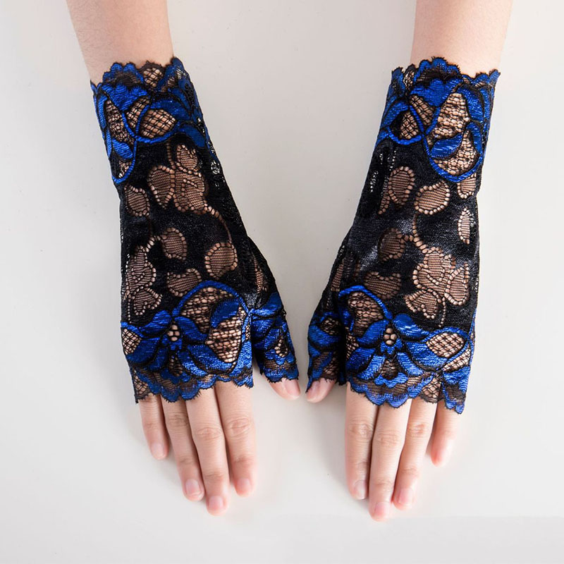 3 Pairs Sunblock Fingerless Lace Gloves Wrist Length Flower Lace Gloves Bridal Wedding Gloves
