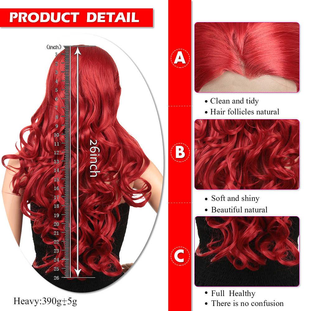 Парики из синтетического кружева спереди для черных/белых женщин, длинные волнистые волосы с эффектом омбре, красный, коричневый, розовый, 613, высокотемпературное волокно, Золотая красота