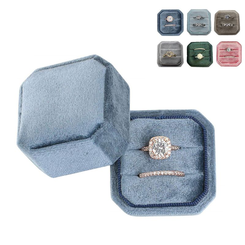 Octagon Velvet Ring Box Double Ring Display Holder With Detachable Lid Ring Box Holder For Wedding Ceremony(Pink)