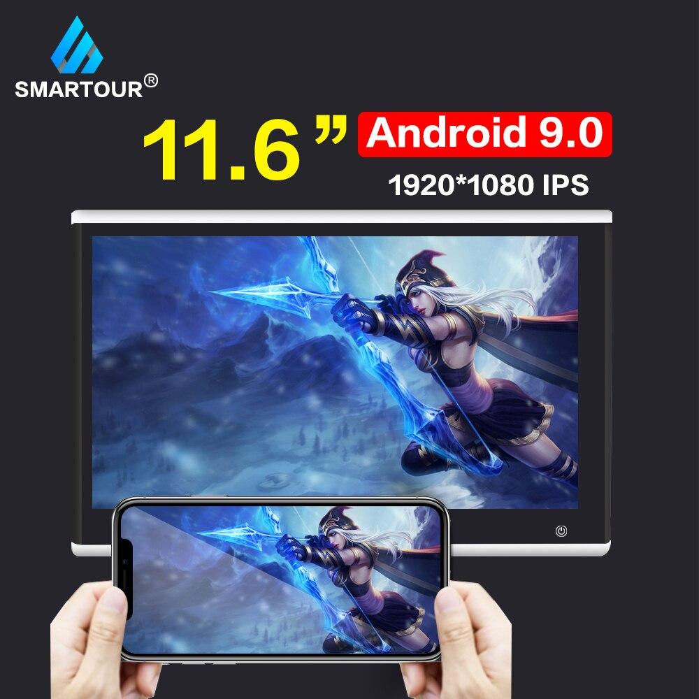 Smartour 11.6 Inch Android 9.0 2GB+16GB Car Headrest Monitor 1920*1080 4K Touch Screen WIFI/Bluetooth/USB/SD/HDMI/FM/Mirroring