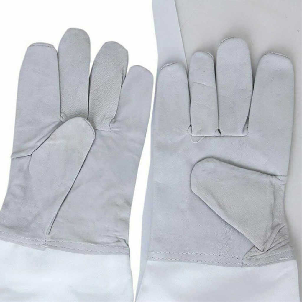 1Pair Apicoltura Protezione Guanto Ventilato Maniche Lunghe Faux pelle di Capra Anti usura-resistente durevole Apicoltura Protezione # R25