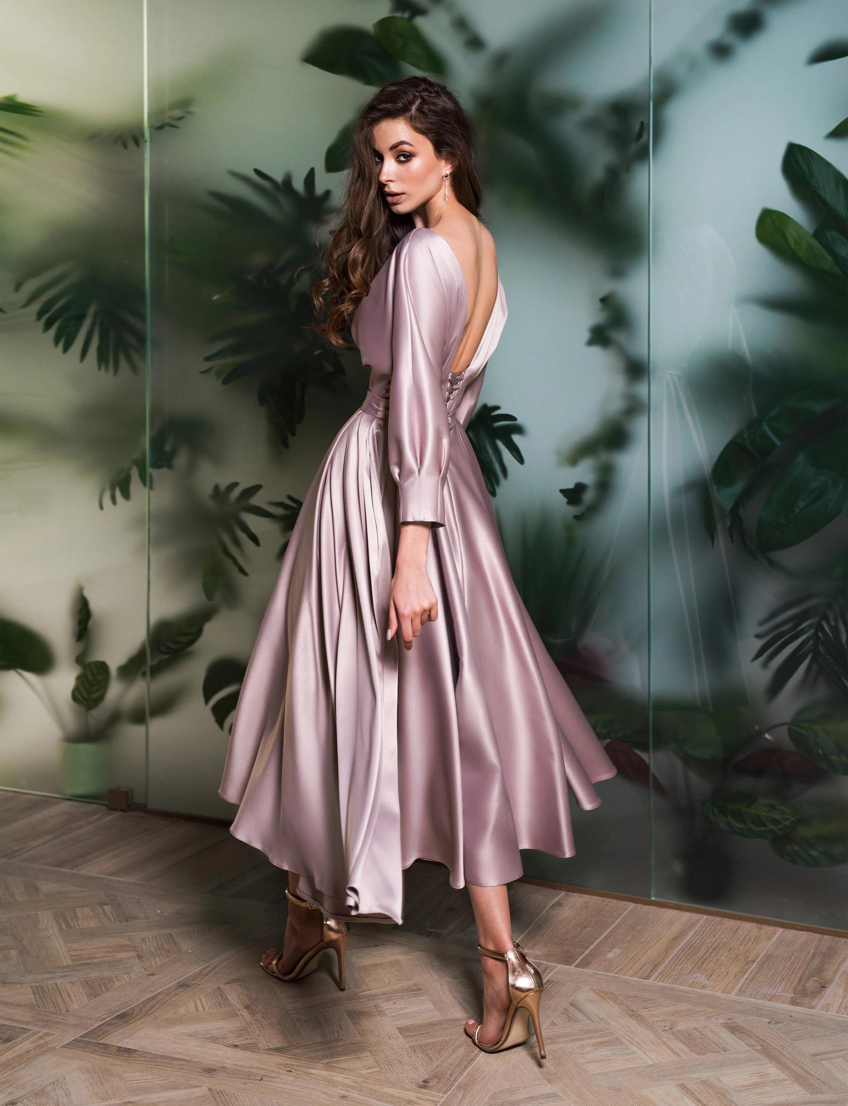 Elegant Satin Backless Evening Dresses 2021 Long Sleeves Tea Length Prom Gowns Sparkle Party Wear Vestidos De Noiva