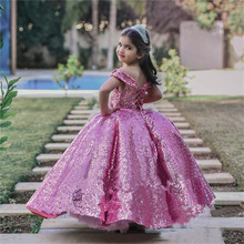 Purple Sequined Flower Girls Dresses Glitz Pageant Dresses for Girls Princess Off Shoulder Corset Back Kids Girls Party Gowns cheap lifetime not regret CN(Origin) Ankle-Length Ball Gown O-Neck Sleeveless Tulle Appliques Beading Button Criss-Cross Crystal
