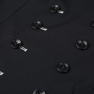 Image 5 - Shenrun גברים חליפות Slim Fit חדש אופנה חליפת טור כפתורים כפול שיא דש חיל הים כחול שחור חתונה חתן מסיבת נשף סקיני תלבושות