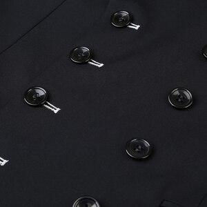 Image 5 - Shenrun 남자 정장 슬림 맞는 새로운 패션 정장 더블 브레스트 피크 옷깃 네이비 블루 블랙 웨딩 신랑 파티 댄스 파티 스키니 의상