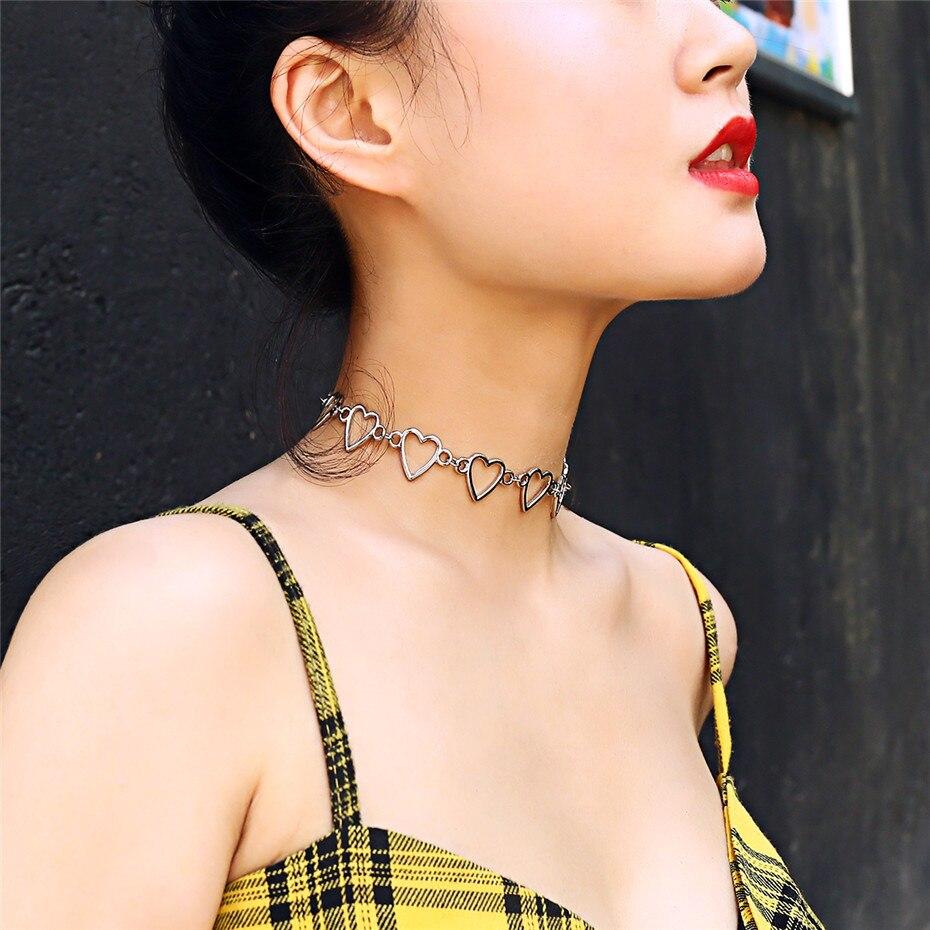 Ingemark Korean Sweet Love Heart Choker Necklace Statement Girlfriend Gift Cute Gold Silver Necklace Jewelry Collier Femme 18 7