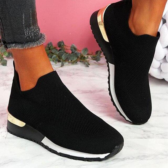 Tênis mulher vulcanizado sapatos senhoras cor sólida deslizamento-em tênis para o sexo feminino sapatos casuais calçados esportivos 2021 moda mujer 2