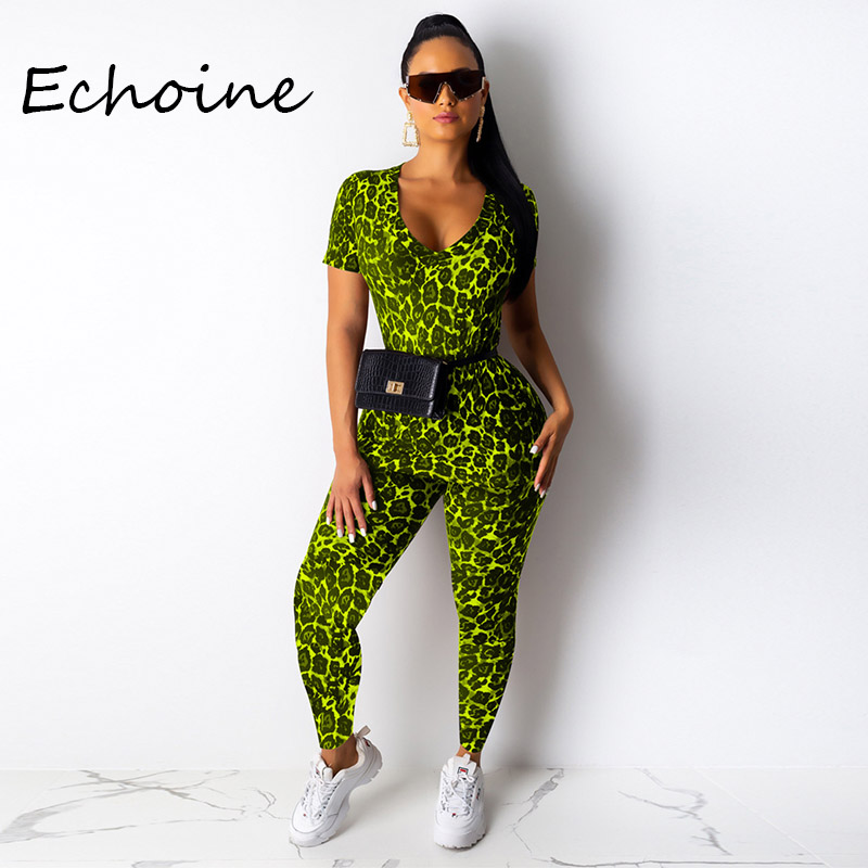 2020 Spring Women Two Pieces Set Leopard Print Short Sleeve Top Shirt + Pencil Pants Casual Sportwear Tracksuit Women 3 Color