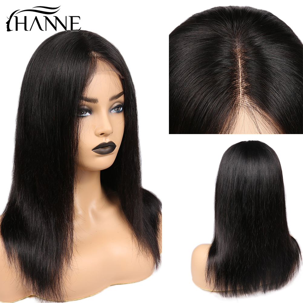 HANNE 4X4 Swiss Lace Closure Wigs Human Hair Wigs 3 Part Wig For Black/White Women With Natural Hairline Straight Remy Hair