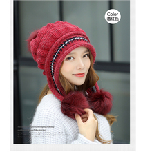 2019 new winter hat womens wool plus velvet earmuffs fashion cute gloves knit set