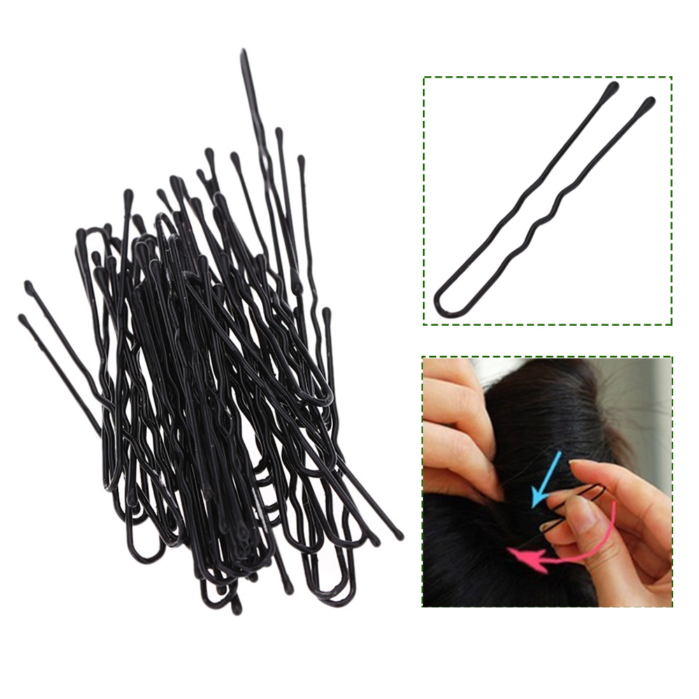 50pcs Thin U Shape Hair Bobby Pin Black Metal Clips Hairdressing Salon Styling Tools Barber / Home Use Hair Beauty Styling