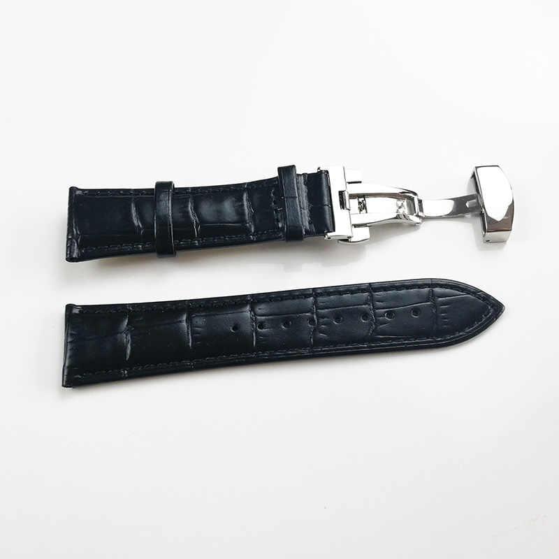 جلد طبيعي حزام (استيك) ساعة حزام الفولاذ المقاوم للصدأ فراشة المشبك 13 مللي متر 14 مللي متر 15 مللي متر 16 مللي متر 17 مللي متر 18 مللي متر 19 مللي متر 20m 21 مللي متر 22 مللي متر مربط الساعة هدية