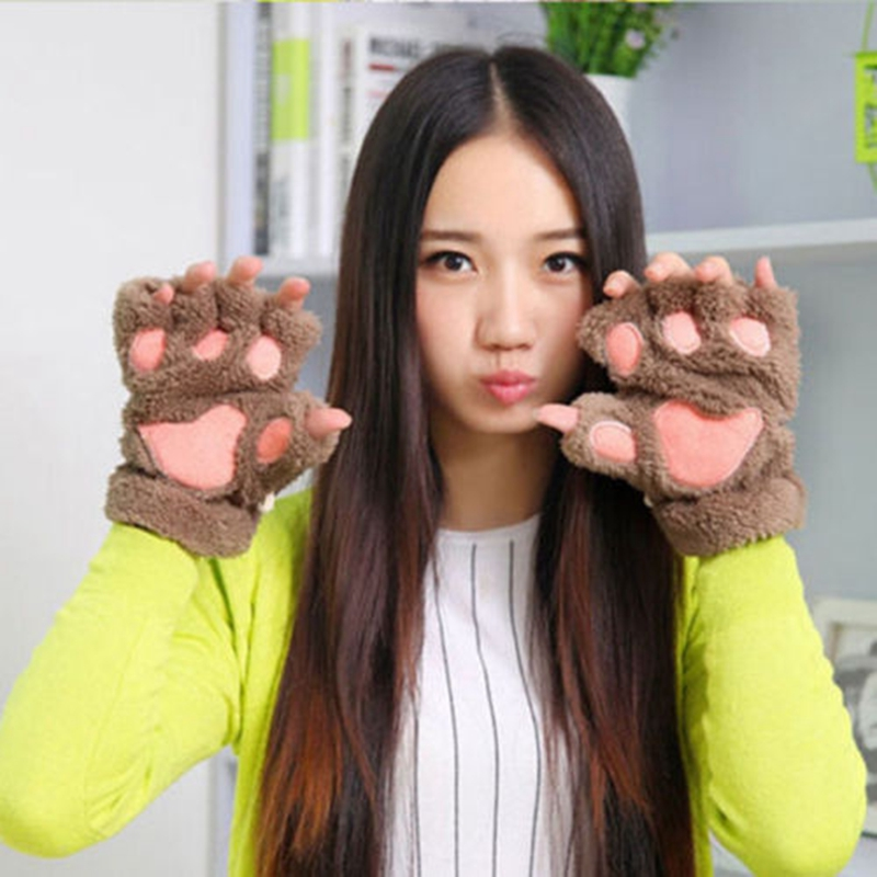 Winter Women Cute Cat Claw Paw Plush Mittens Short Fingerless Gloves Half Finger Faux Fur Wool Winter Warm Fur Paw Gloves