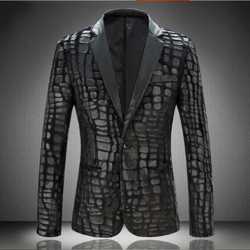 Autumn New Arrival Men's Velvet Pressure Lather Slim Suit Men Fashion Single Button Black Blazers Smart Casual