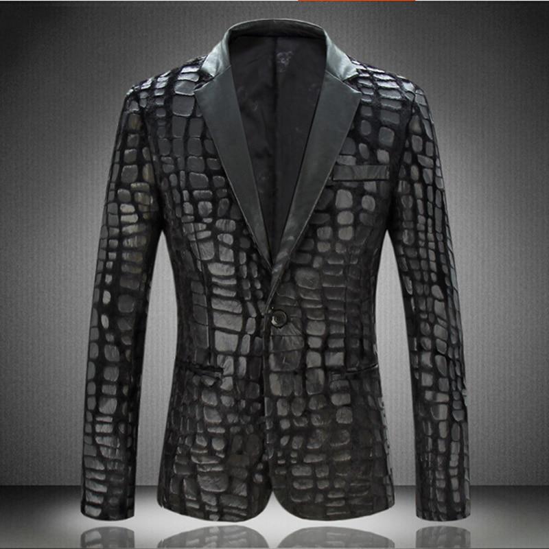 Autumn New Arrival Men's Velvet Pressure Lather Slim Suit Men Fashion Single Button Black Blazers Smart Casual