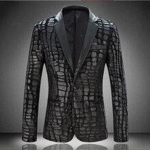 Autumn New Arrival Men's Velvet Pressure Lather Slim Suit Men Fashion Single Button Black B