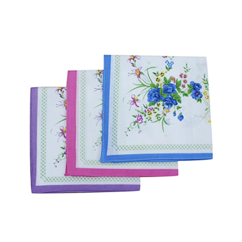 12Pcs Floral Pattern Handkerchiefs Cotton Blended Fabric For Child Female Clothing