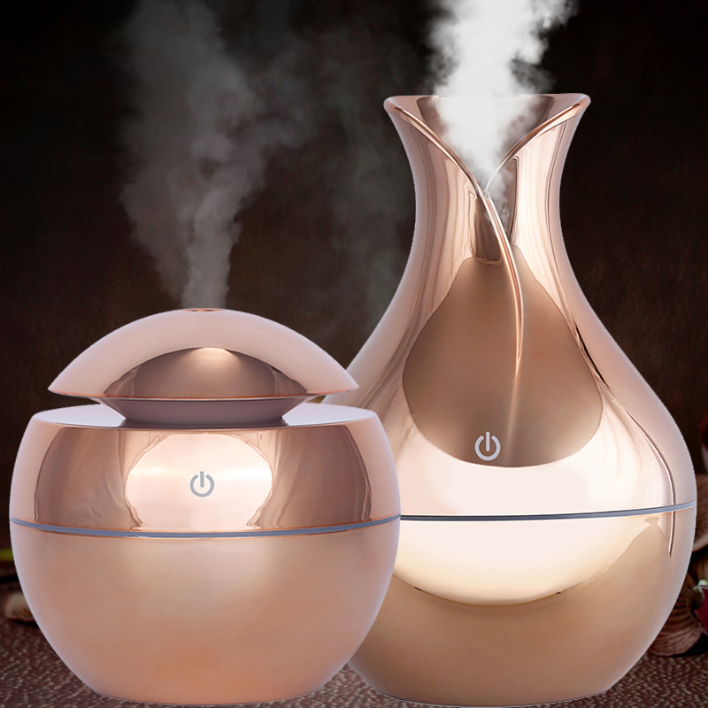 130ml USB aroma oil diffuser wood electric humidifier ultrasonic air humidifier mini aromatherapy LEDlight mist maker for home