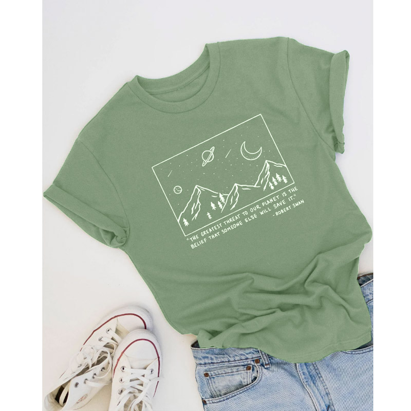Save Planet T-shirt Mountain Graphic Tees Women Summer Short Sleeve Art Tops Fashion Slogan Tumblr T Shirt Cotton Drop Shipping