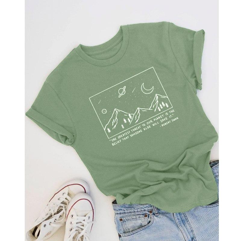 Save Planet T-shirt Mountain Graphic Tees Women Summer Short Sleeve Art Tops Fashion Slogan Tumblr T Shirt Cotton Drop Shipping