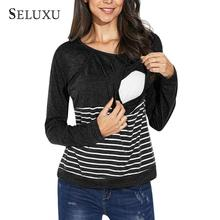 Seluxu 2019 Autumn Women T-Shirt Womems Striped Casual Top Long Sleeves Breathable Outside Wearing Breastfeeding Clothes