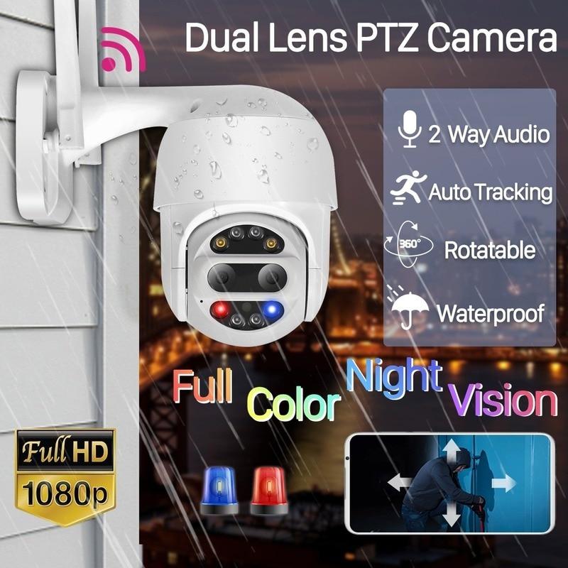 Наружный монитор камеры видеонаблюдения с двойным объективом, 1080P, Wi-Fi, PTZ, 4-кратный зум, беспроводной Купол, автоматическое слежение, звуков...