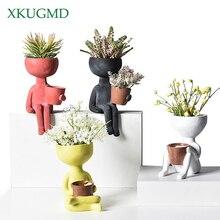 Vase Ornaments Arrangement-Container Flower-Pot Humanoid Posture-Sculpture Couple Gift