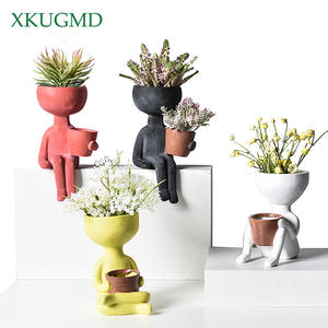 Vase Arrangement-Container Flower-Pot Humanoid Ceramic Posture-Sculpture Sitting Gift