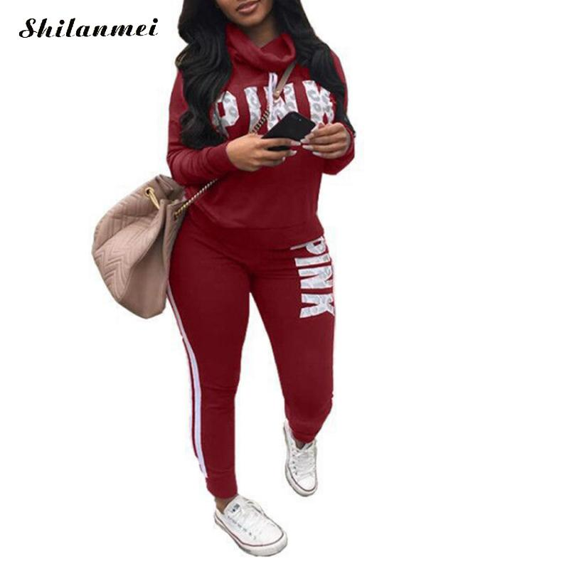 Pink Letter Print Tracksuits Women Two Piece Set 2019 Autumn Long Sleeve Hoodies Tops + Jogger Pants Set Sweatsuit 2pcs Outfits